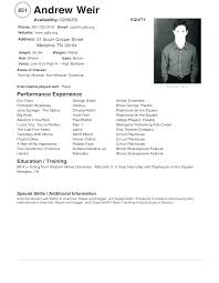 Actor Resume Template Mesmerizing Acting Resumes For Beginners Beginner Actor Resume Template