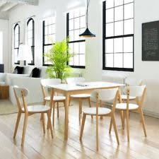 kitchen dining table set 6 chairs modern solid wooden white birch furniture