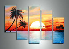 sunset sailboats metal wall art handmade 5 piece blue red landscape oil paintings on canvas ocean sunset beach canvas wall art  on sunset wall art canvas with red sunset wall art best canvas images on paintings mountain twin