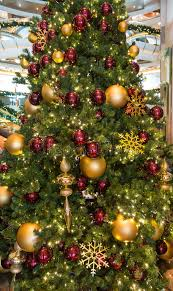 Download Lobby Christmas Tree With Red And Gold Ornaments Stock Image -  Image of season,
