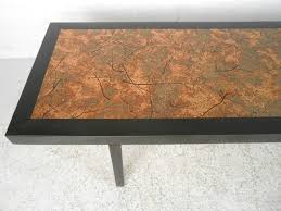vintage modern coffee table with hammered copper top for 1