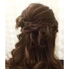リボンとダブル編み込みのハーフアップ Le Cielルシエルのヘア