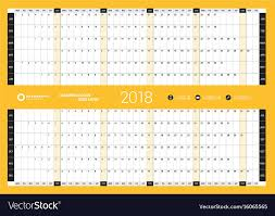 Yearly Calendar Planner Template Yearly Wall Calendar Planner Template For 2018 Vector Image