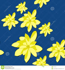 plain neon yellow background.  Background Seamless Pattern With Bright Yellow Magnolia Flowers On The Blue Background On Plain Neon Background R