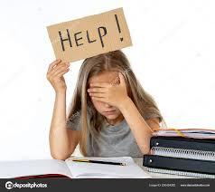 Cute Little School Girl Holding Help Sign Stress Books Homework