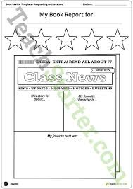 Newspaper Themed Book Report Template And Poster Teaching
