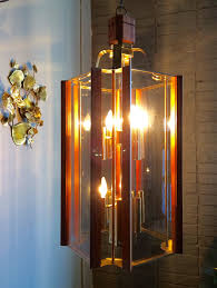 huge light mid century modern chandelier retro wood glass brass design 82