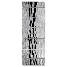 huge contemporary abstract black silver metal wall art decor