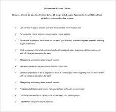 Resumes Outline 12 Resume Outline Templates Samples Doc Pdf Free