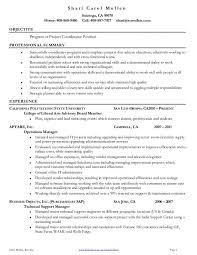 Project Coordinator Resume Accomplishments Free Job Resumes