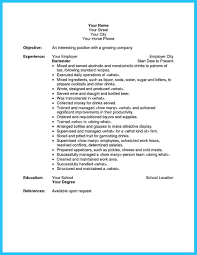 Bartender Job Duties For Resume Professional Resume Templates