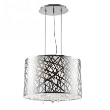 julie collection 4 light chrome finish oval drum shade with clear crystal chandelier 17 l