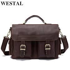 westal men bag genuine leather briefcase men s business laptop bag