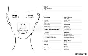 face chart makeup artist blank template vector ilration beauty face chart beautiful
