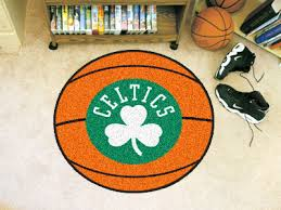 boston celtics area rug nylon basketball shaped 10220 jpg