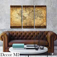 Decor MI Vintage World Map Canvas Wall Art Prints Stretched Framed Ready to  Hang Artwork Wall
