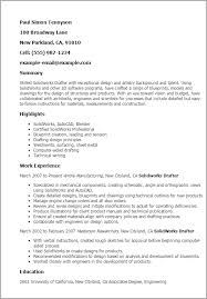 1 Solidworks Drafter Resume Templates Try Them Now Myperfectresume