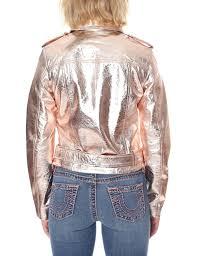 women 039 s metallic moto leather jacket