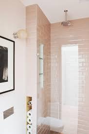 pink subway bathroom tiles hearth studio