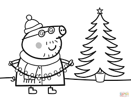 Daddy Pig Decorates Xmas Tree Coloring