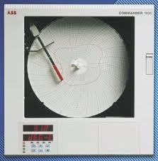 Abb C1901 Circular Chart Recorder Measures Current Millivolt Resistance Temperature Voltage