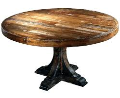 distressed wood round dining table rustic copper pedestal with room chairs roun