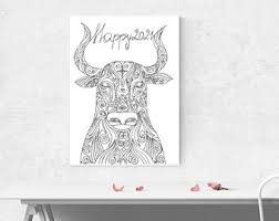The ox, in chinese culture, is a hardworking zodiac sign. 2021 Coloring Images Etsy