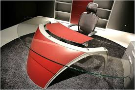red black home office. Modern Red Accent Glass Office Desk And Black Mesh Chair With Arms On Rug Home