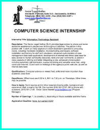 Resume For Internship Computer Science Free Resume Example And