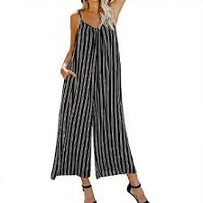 Womens Jumpsuit Size Chart Amazon Com Women Stripe Jumpsuits And Rompers Sleeveless