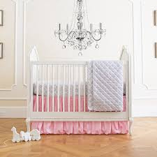 image of cute pink and grey nursery bedding