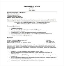 Federal Government Resume Template Federal Resume Template 10 Free  regarding Federal Resume Example