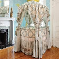 Addison Floral Round Iron Canopy Crib in Choice of Finish
