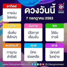 ดวงประจำวันอังคารที่ 7 กรกฎาคม พ.ศ. 2563 - Chiang Mai News