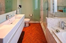 contemporary cork floor bathroom
