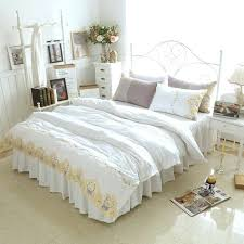 snow white bed solid color princess bedding sets luxury duvet covet girls wedding bedspread linen pillowcases snow white bed