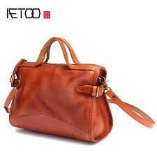aetoo japanese handmade vegetable tanned leather handbags female baotou leather small square package wild shoulder messenger cross bags handbags