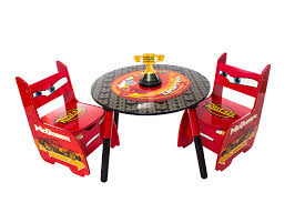 lag3 disney cars lightning mcqueen childrens wooden table and two chairs set kids bedroom playroom co uk kitchen home