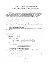 an exact solution of riccati form of navier stokes equations with mathematica pdf available