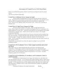 Cranial Nerve Exam Chart Cranial Nerve Assessment Cheat Sheet Docsity