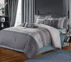 image of blue and grey comforter king