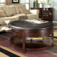 round brown leather ottoman gorgeous round brown leather ottoman coffee table your residence design round brown leather