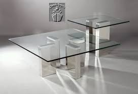 square tempered glass coffee table with chrome base