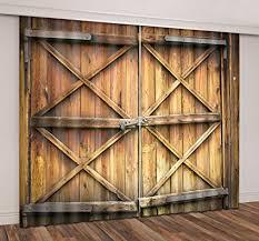 lb rustic barn door 3d blackout window curtains vine farmhouse door window treatment decorative living