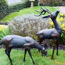 garden sculpture. Dark Verdigris Pair Of Small Deer Garden Sculptures Sculpture