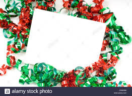 Christmas Notecard A Blank Note Card Surrounded By Christmas Bows On A White Background