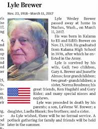 Obituary for Lyle Wesley Brewer, 1918-2017 - Newspapers.com
