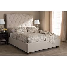 upholstered platform bed king. Exellent King Victoire Light Beige Fabric Upholstered Platform Bed King  In King