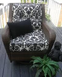 items similar to indoor outdoor deep seating chair cushion set seat back black ivory cream damask cushions choose size free solid black pillow