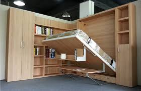 Modern Double Wall Bed with Bookshelf and Office Table , Natural Color E1  Grade Panel  Foldable ...